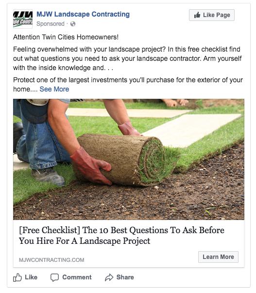landscaper facebook ad
