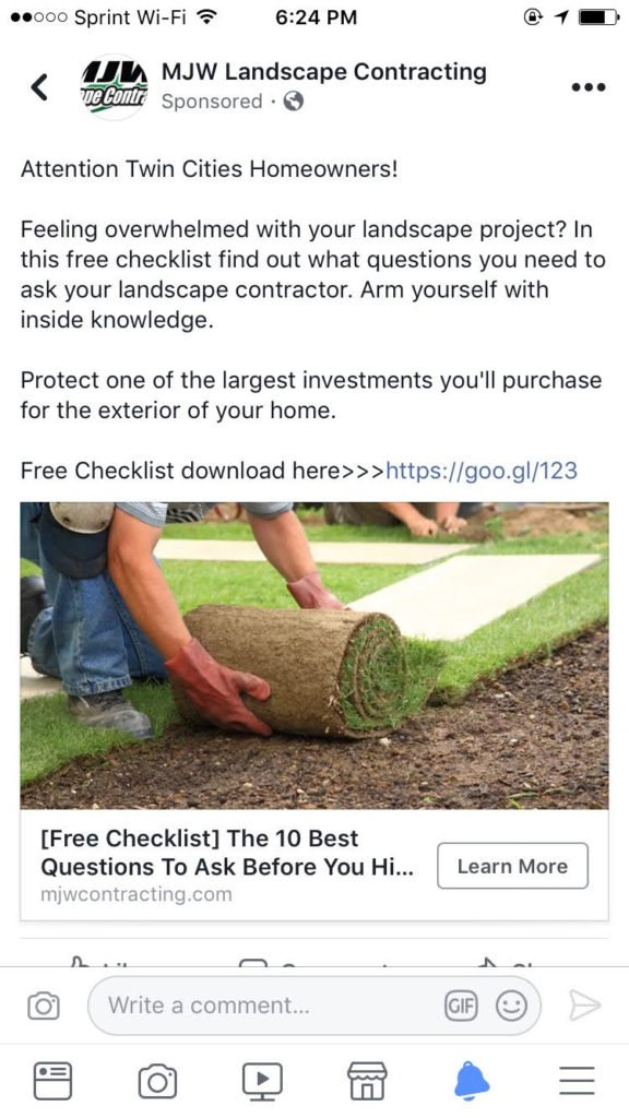facebook ad for landscaping business