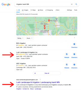 SEO rankings for landscaping company